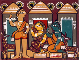 Jamini Roy, Rama, Sita and Lakshmana, c. 1945