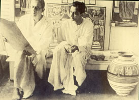 Jamini Roy in his Studio with a guest c. 1950